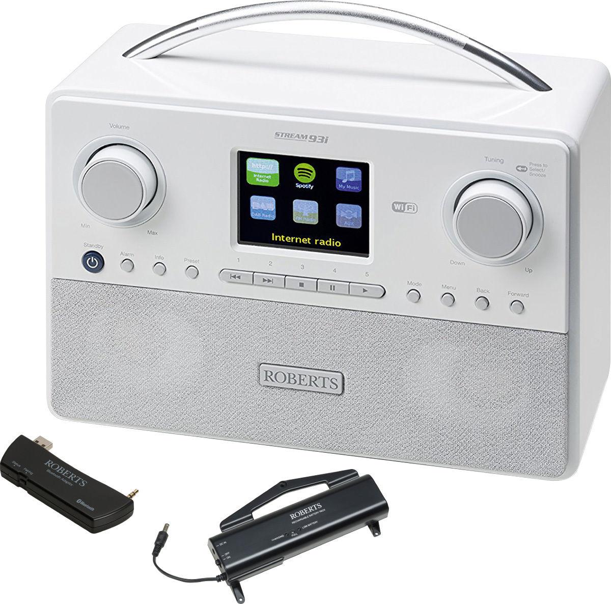 Radios Internet Roberts Stream93i Blanc + Batterie + Bluetooth