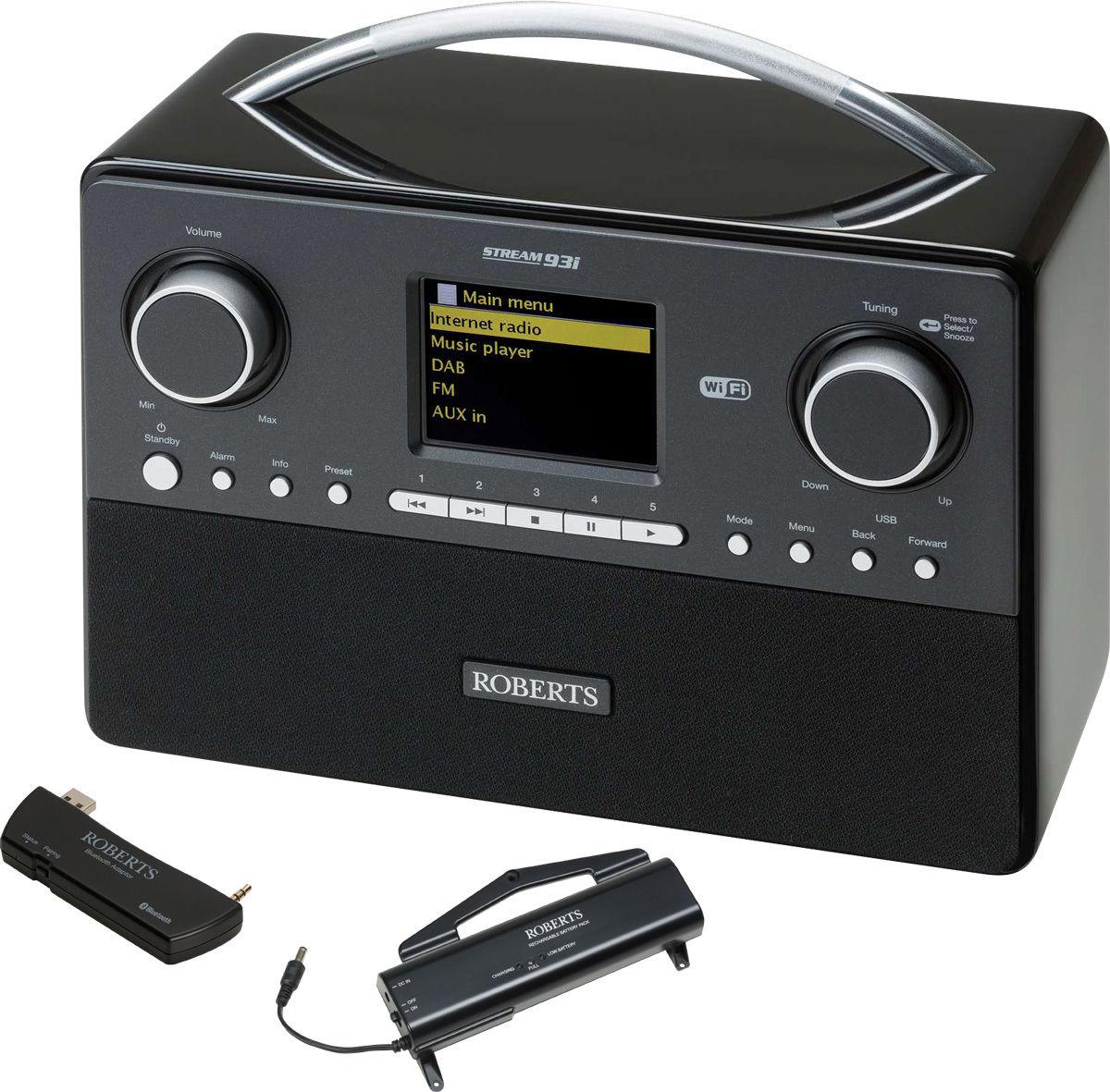 Radios Internet Roberts Stream93i Noir + Batterie + Bluetooth