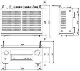 Denon AVR-X2400H Vue schéma dimensions