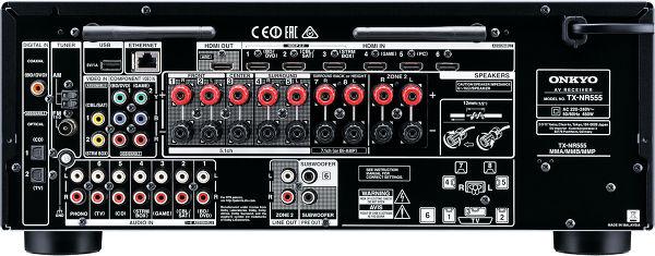 Face arrière de l'amplificateur AV Onkyo TX-NR555 en coloris noir