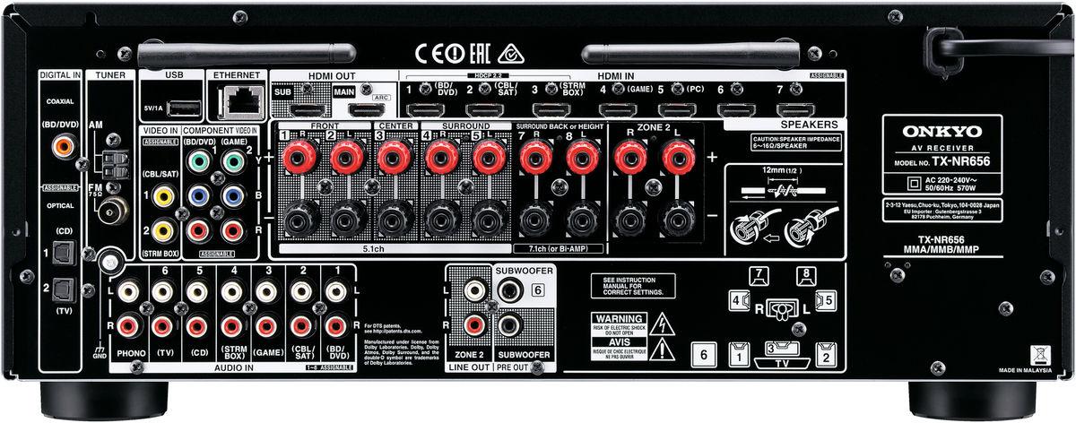 Face arrière de l'amplificateur AV Onkyo TX-NR656 en coloris noir