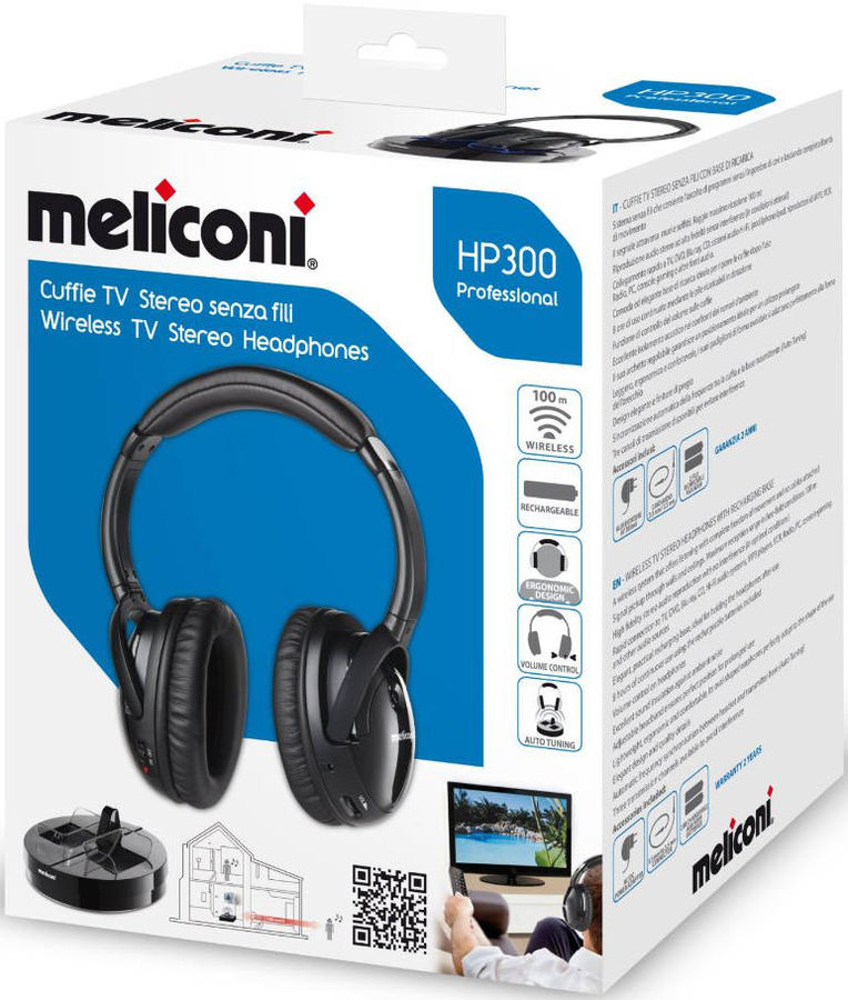 meliconi hp 300 professional casque sans fil pour tv ordinateur ipod iphone ipad www. Black Bedroom Furniture Sets. Home Design Ideas