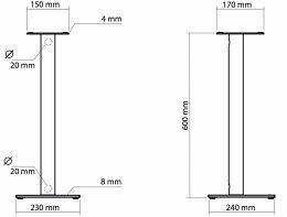 NorStone Epur Stand Vue schéma dimensions