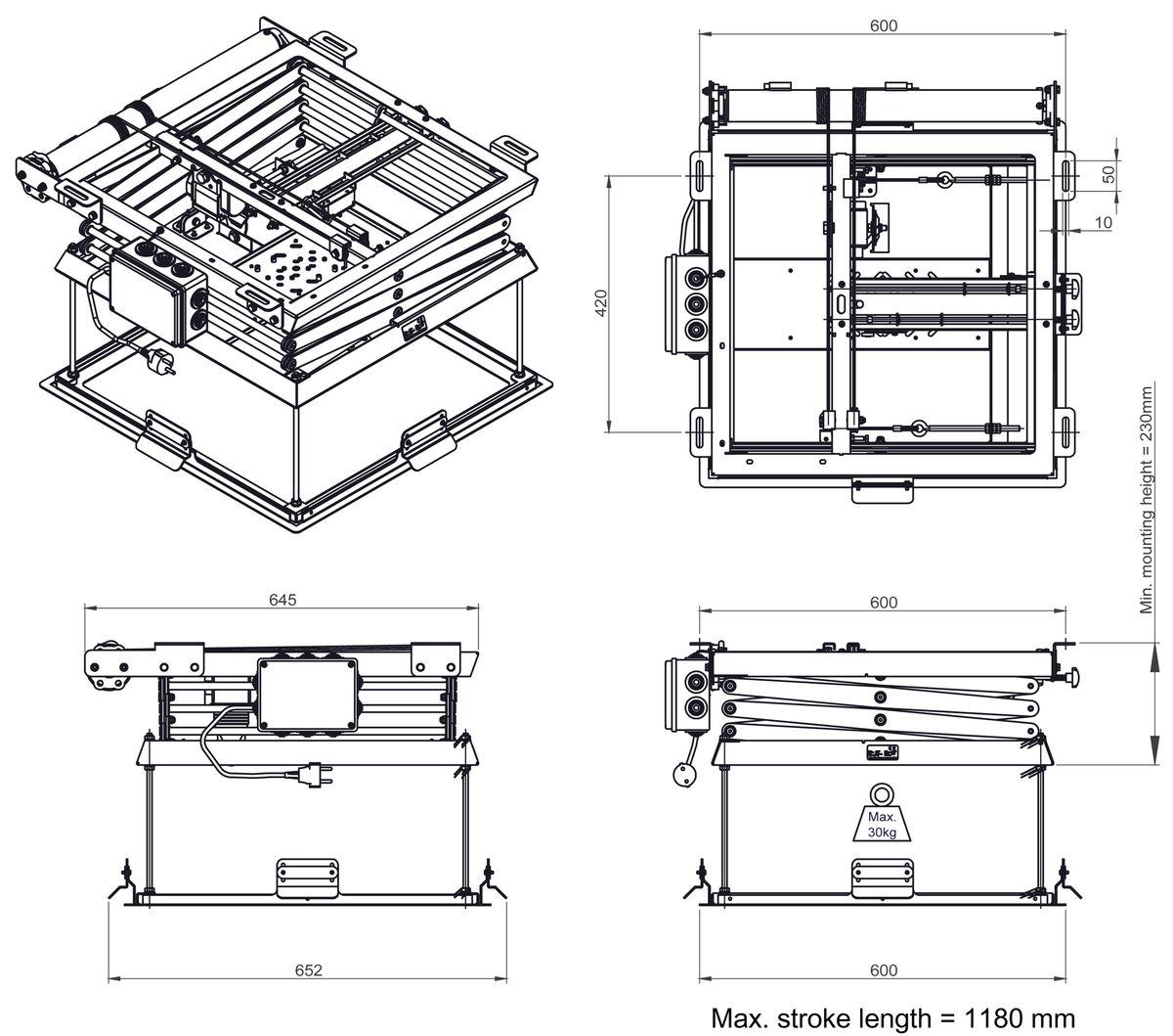 Rayons Ascenseur Videoprojecteur Vogels PPL
