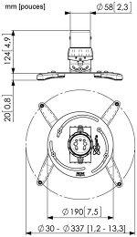 Vogel's PPC-1500 Vue schéma dimensions