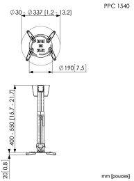Vogel's PPC-1540 Vue schéma dimensions