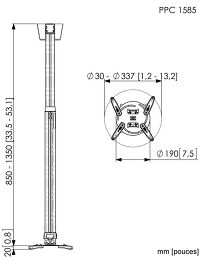 Vogel's PPC-1585 Vue schéma dimensions