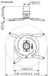 Vogel's PPC-2500 Vue schéma dimensions
