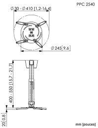 Vogel's PPC-2540 Vue schéma dimensions