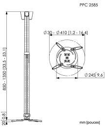 Vogel's PPC-2585 Vue schéma dimensions