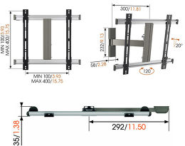 Vogel's Thin 225 Vue schéma dimensions