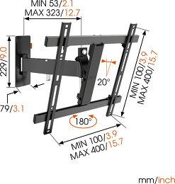 Vogel's WALL 2225 Vue schéma dimensions