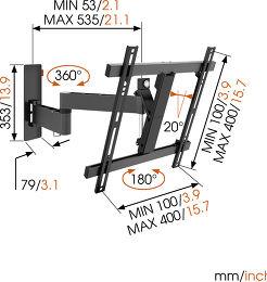 Vogel's WALL 2245 Vue schéma dimensions