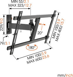 Vogel's WALL 2325 Vue schéma dimensions