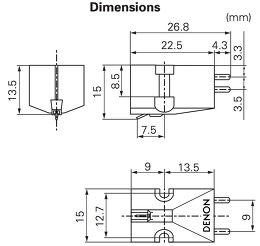 Denon DL103 Vue schéma dimensions