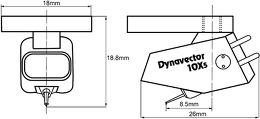 Dynavector DV-10X5 Vue schéma dimensions