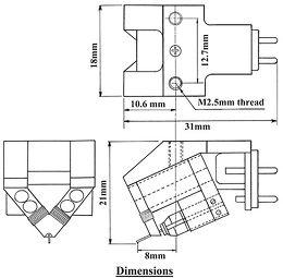 Dynavector DV DRT XV-1s Vue schéma dimensions
