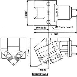 Dynavector DV DRT XV-1t Vue schéma dimensions