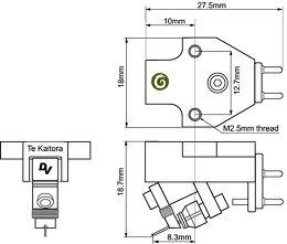 Dynavector Te Kaitora Rua Vue schéma dimensions
