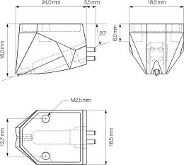 Ortofon 2M Blue Vue schéma dimensions