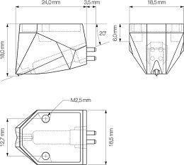 Ortofon 2M Blue Verso Vue schéma dimensions