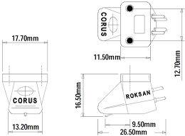Roksan Corus Silver Vue schéma dimensions