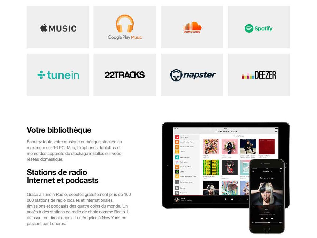 Services musicaux disponibles sur SONOS