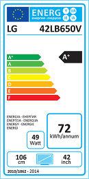 LG 42LB650V Etiquette énergétique