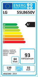 LG 55LB650V Etiquette énergétique