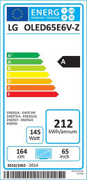 LG OLED65E6V Etiquette énergétique