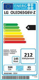 LG OLED65G6V Etiquette énergétique
