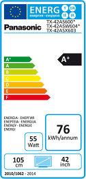 Panasonic TX-42AS600E Etiquette énergétique