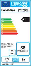 Panasonic TX-55AS650E Etiquette énergétique