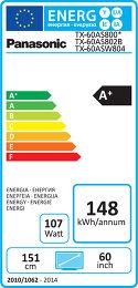 Panasonic TX-60AS800E Etiquette énergétique