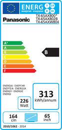 Panasonic TX-65AX800E Etiquette énergétique