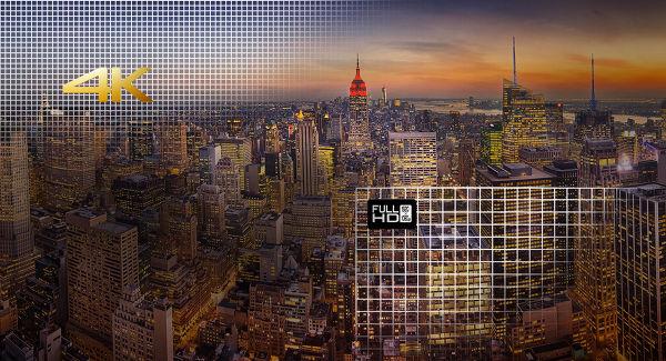 Comparaison résolution HD 1080p et résolution UHD 4K
