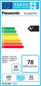 Panasonic TX-L42DT50E Etiquette énergétique