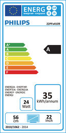 Philips 22PFH4109 Etiquette énergétique