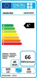 Samsung UE40H5000 Etiquette énergétique