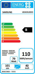 Samsung UE40HU6900 Etiquette énergétique