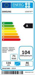 Samsung UE46F7000 Etiquette énergétique