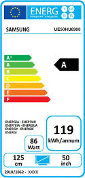 Samsung UE50HU6900 Etiquette énergétique