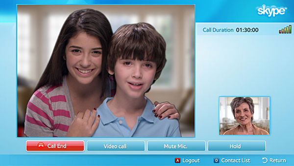 Application Skype - TV Samsung UE55F9000