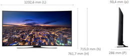 Samsung UE55HU8200 Vue schéma dimensions