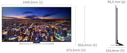 Samsung UE65HU7500 Vue schéma dimensions