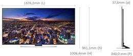 Samsung UE75HU7500 Vue schéma dimensions