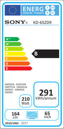 Sony KD-65ZD9B Etiquette énergétique