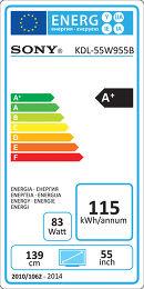 Sony KDL55W955 Etiquette énergétique