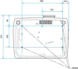 Epson EH-TW6600W Vue schéma dimensions