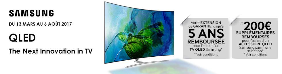 Offre TV QLED Samsung : extension de garantie remboursée